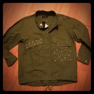 NWT Lea & Viola Army Green Embellished Jacket